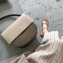 bag2-02383 バイカラー ベージュ×ブラウン ショルダーバッグ
