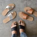 shoes-02015  フェイクレザー バイアスカットサンダル