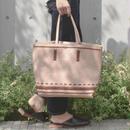 bag2-02327 フェイクレザー ステッチデザイントートバッグ ポーチ付き ブラック ヌードカラー