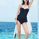swim-02253 ブラック ホルターネック ワンピース 水着 レディース カップ付き