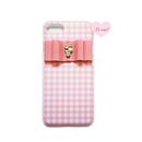 各種iPhone ピンクギンガムチェック×ビジューリボン ハードケース