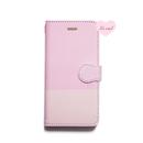 ♡名入れ対応♡手帳型ケース ピンク/ピンク バイカラー