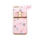 ピンク ティーカップキャット×レザー風バックルリボン ハードケース
