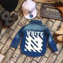 【再入荷】OR37  バックプリントデニムシャツ/blue