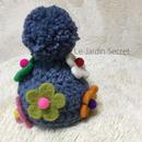 お花畑ニット帽(グレイッシュブルー)