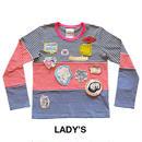 HORIZONTAL BLANKING PERIOD. グラフィックワッペン付きボーダーTシャツ(長袖) Lady's