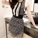 韓国ワンピ 花柄ワンピース Aライン ガーリー 通勤 OL 大人女子 FS028701