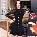 韓国ドレス 韓国ワンピース 個性的 フロントボタン 可愛い シースルー袖 セクシー FS106601