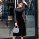 パーティードレス 韓国ワンピース バイカラー お嬢様スタイル お呼ばれ FS081701