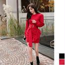 パーティードレス 韓国ワンピース ウエストリボン 可愛い スカートフリル 無地 FS106101