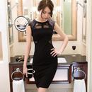 韓国ワンピース Aライン パーティドレス レース メッシュ 花柄 ブラック FS029701