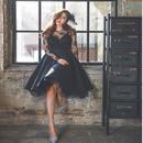 パーティードレス 韓国ワンピース 秋冬 シースルー レース 切り替え ブラック 黒色 大きいサイズ 長袖 FS027101