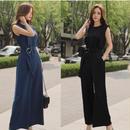 パンツドレス 韓国ワンピース ノースリーブ パーティードレス オールインワン スタイリッシュ 大人女子 FS080001