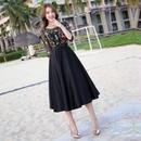 ボタニカル刺繍 ブラックドレス 結婚式 パーティー ミモレ丈 ワンピース FS024401
