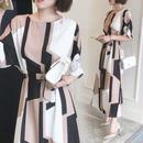 韓国 幾何学模様 ジオメトリック エレガントスタイル 大人ワンピース セレブファッション FS030701