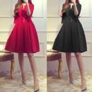 大きいサイズ ミニドレス 韓国ワンピース パーティー 無地 シンプル 赤 黒 レッド ブラック XL 2XL FS017501