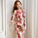 パーティードレス 韓国ワンピース スリム 薔薇デザイン セクシー 花柄模様 美しい FS096901