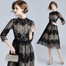 韓国ドレス 韓国ワンピース 花柄レース 美しい エレガント 上品 ボーダー柄 可愛い FS105401