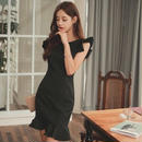 パーティードレス 韓国ワンピース スリーブレス Aライン 肩フリル 可愛い 無地 FS074001