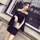パーティードレス オーガンジー デコルテ セクシー ロングケープ 韓国ワンピース ブラック 黒 FS039901