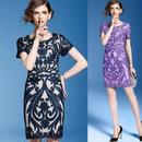 韓国ドレス ボタニカル 花柄刺繍 Aラインワンピース ネイビー パープル 大きいサイズ FS033501