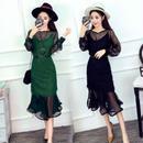 シースルー メッシュ フリンジドレス 緑 黒 グリーン ブラック ワンピース フェイクファー パーティードレス FS003101
