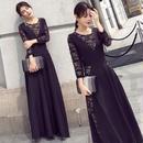 高級感 花柄レース 美しい ロングドレス お呼ばれ パーティードレス エレガントマキシワンピース FS048001