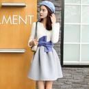 韓国ワンピ リボン ドッキングワンピース ホワイト 白 フレアスカート ガーリー FS011801