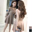韓国ドレス 韓国ワンピース Vネック セクシー フリルスカート 可愛い スリム FS108801