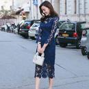 パーティードレス 韓国ワンピース  ペイズリー ミモレ丈 ブルー 刺繍レース レイヤード ハイネック  FS030401