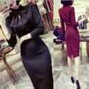 七分袖ワンピース スリム Aライン エレガント ドレス 韓国ワンピ スリット ワインレッド ネイビー ブラック FS014501