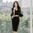 ブラックドレス 韓国ワンピース スリム フリル袖 個性的 デート FS100301