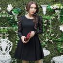 大きいサイズ 花柄 Aライン ワンピース ドレス フリル XL 2XL 3XL ブラック 黒 FS021601