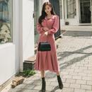 韓国ワンピース フィッシュテール 可愛い ロング丈 フロントボタン 可愛い FS097801