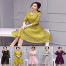 大きいサイズ レースワンピース ドレス お呼ばれ パーティー 結婚式 二次会 通勤 長袖 ワンピース Aライン XL 2XL FS018201