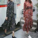 韓国ファッション ハイネック クラッシック 花柄 ワンピース マキシワンピ ロングワンピ FS013601