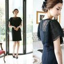 韓国 ワンピース イブニングドレス ブラック 刺繍 大人 FS029501
