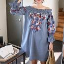 韓国 花柄刺繍 オフショルダー ワンピース チュニック ブルー FS028501