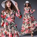 パーティードレス ローズデザイン 薔薇模様 マキシワンピース 花柄模様 エレガント FS085901