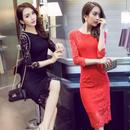 総レース 花柄 ワンピース ひざ丈 膝丈 黒 赤 ブラック レッド 韓国ドレス FS010301