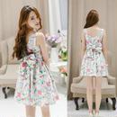 韓国ワンピース 花柄 フラワー ワンピース パーティー ドレス リボン デート お出かけ FY055201