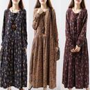 大きいサイズ ワンピース 長袖 花柄 ロングワンピース マキシワンピース ネイビー ブラウン ワインレッド FS016301
