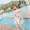韓国ワンピース トロピカル柄 フレアスカート ワンピース 海 リゾート FS055601
