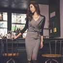 バイカラーワンピース 韓国ワンピース ウエストリボン 可愛い Vネック ミモレ丈 FS098201