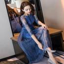 パーティードレス 花柄デザイン シースルー 美しい マキシワンピース 結婚式 ディナー お呼ばれ FS056301