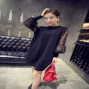 大きいサイズ シースルー袖 ニット生地 ワンピース パーティードレス 可愛い かわいい XL XXL XXXL 2XL 3XL FS003201