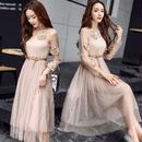パーティードレス 韓国ワンピース 花柄 長袖 マキシワンピース ロングドレス FS035801