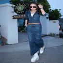韓国 セレカジ デニム ブルー サロペット マキシ ロング オールインワン FS012401