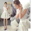 花柄 ワンピース パーティードレス フリル レース 白 ホワイト リボン FY038501
