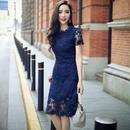 刺繍レース レイヤード ワンピース 花柄 ブルー 青 半袖  結婚式  FS015301